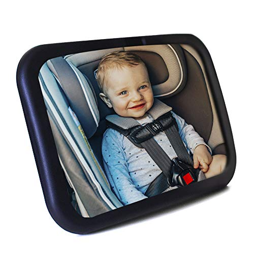 Baby Car Mirror Baby Mirror Super Easy To Install 30x19cm Shatterproof Rearview Mirror With Uv Strap Fits All Cars Great Gift For Baby Shower Baby