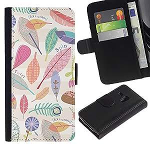 KingStore / Leather Etui en cuir / Samsung Galaxy S3 MINI 8190 / Feuilles Motif Nature Clean
