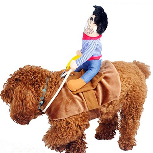 iSmarten Cowboy Rider Dog Costume for Dogs Outfit Knight Style with Doll and Hat Pet Costume (M) -