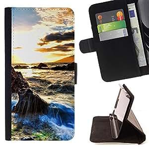 For HTC Desire 820,S-type Sunset Beautiful Nature 29- Dibujo PU billetera de cuero Funda Case Caso de la piel de la bolsa protectora