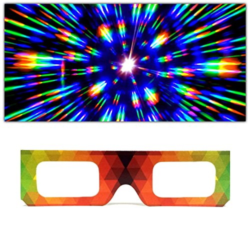 GloFX Paper Cardboard Diffraction Glasses - Geometric Rainbow (10 Pack) Unique Party Favors for Kids -