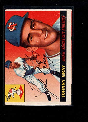 - 1955 Topps #101 Johnny Gray Authentic On Card Autograph Signature Ax6387 - Baseball Slabbed Autographed Cards