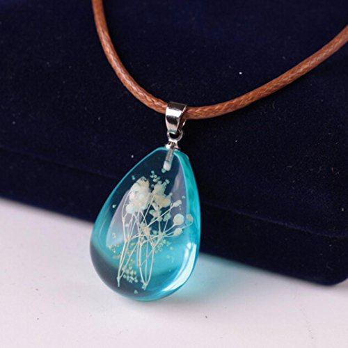 Luminous Necklace,Hemlock Women Gemstone Pendant Necklaces Flower Teardrop Necklaces Clothes Chain (Blue) (Pendant Flowers Teardrop)