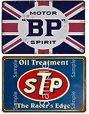 Retro Benzine Motorolie Metalen Tin Teken Plaque Voor Bar Tankstation Garage Thuis Wall Art Decoratie Metalen Plaat 2 STKS 7.8x11.8in (20 cm x 30 cm) 19