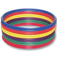 No P.E. or recreation program is complete without hoops Versatile hoops teach balance, coordination and rhythm Use as targets, jump and hop rings for races and much more Each dozen includes 2 of each color:  Blue, Green, Orange, Purple, Red a...