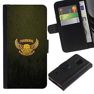 EJOY---Tirón de la caja Cartera de cuero con ranuras para tarjetas / Samsung Galaxy S5 V SM-G900 / --Chairborne Cartel divertido