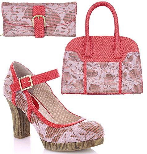 Ruby Shoo Women's Cassandra Bar Shoes & Matching Cancun Bag & Como Purse Coral tWuH0t8V