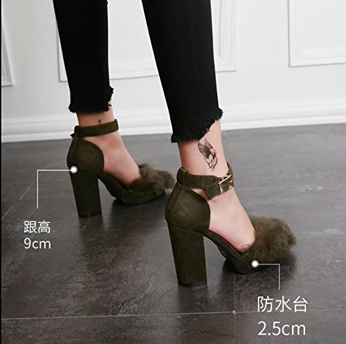 redonda con de sujetadores de HGTYU solo de felpa Moda alto zapatos gruesas zapatos Brown Sexy ranurada huecos vacía otoño de mujer zapatos y tacón cabeza OqqaXftw