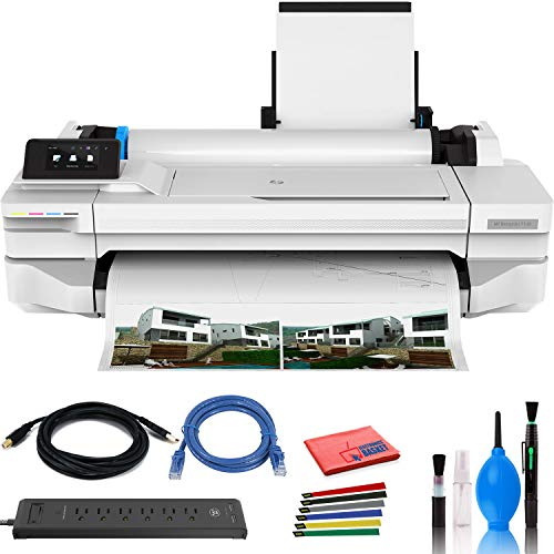 HP DesignJet T130 24″ Large Format Printer – Color Ink Jet – (#5ZY58A#B1K) with Power Strip + Printer Cable + Cat5 Cable + Wire Ties and More- Advanced Bundle