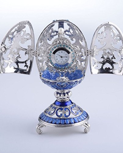 Keren Kopal Silver & Blue Faberge Egg Trinket Box with for sale  Delivered anywhere in USA