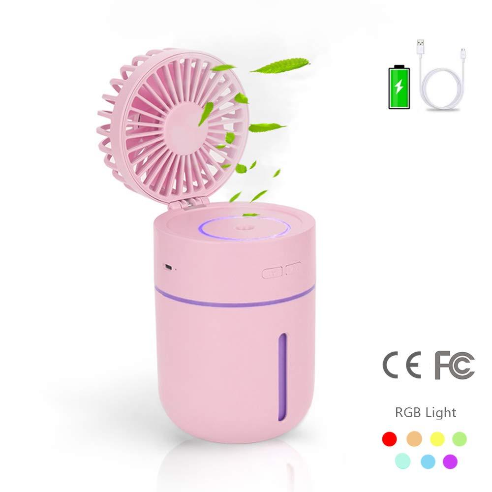 Inmorven Desktop-Fan 3 Gangstellung,Cooling Mist Befeuchter 5-Colors Nachtlicht USB-Akku Quiet Pers/önlicher Fan Portable USB Ventilator f/ür B/üro,Familie und Outdoor