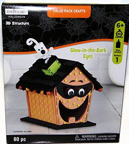 Halloween Jack O Lantern Pumpkin House GLOW IN THE DARK EYES Foam Activity 3 D Craft Structure Kit, Makes 1 Centerpiece or Decoration