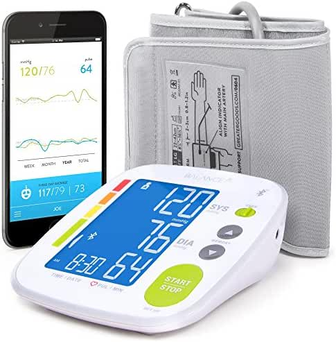 Balance Bluetooth Blood Pressure Monitor with Upper Arm Cuff, Digital Smart BP Meter With Large Display, Set also comes with Tubing and Device Bag