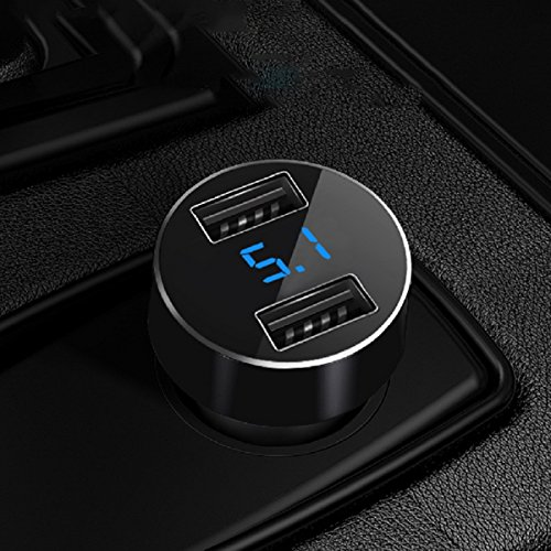 Car Charger, XINBAOHONG Fast Charge Metal Dual USB 4.8A Car Adapter LED Display Car Voltage Detector Flush Fit for X/8/7/6s/Plus iPad Pro/Air 2/Mini Galaxy S7/S6/Edge/Plus and More (Black)