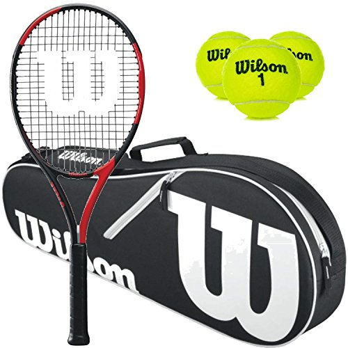 Wilson BLX Fierce Pre-Strung Extended Black/Red Tennis Racquet (4 1/2