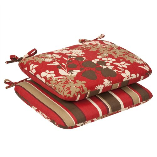 Pillow Perfect Indoor/Outdoor Red/Brown Floral/Striped Reversible Seat Cushion, Rounded, 2-Pack
