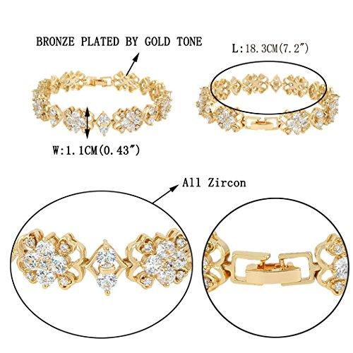 EVER FAITH® Ton Or Dentelle Oxyde de Zirconium Noces Mariage Bracelet Chaîne à Main Transparent