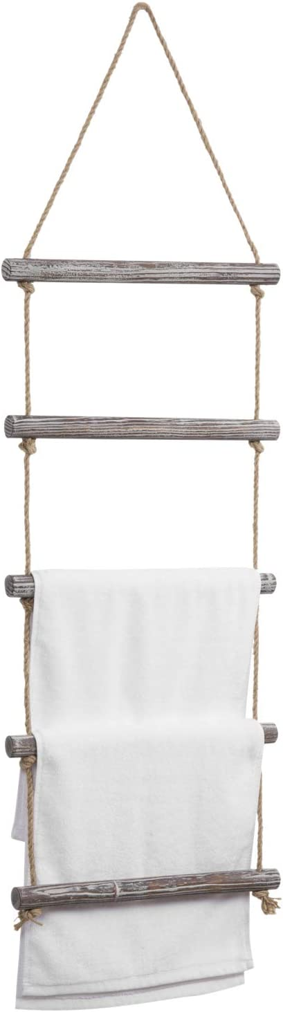MyGift 4-Foot Wall Hanging Rustic Torched Wood and Rope Ladder Towel Rack with 5 Rungs