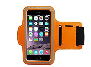 Orange Armband Exercise Workout Case with Keyholder for Jogging fits Samsung Galaxy S6 LifeProof Case. For Arms up to 12 inches big.