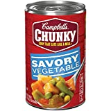 Tackle hunger with Campbell's Chunky Savory Vegetables Soup. Eating your veggies becomes undeniably satisfying with our hearty spoonfuls loaded with potatoes, carrots, corn, green beans and peas in a flavorful tomato broth. Soup that eats like a meal...