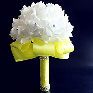 Romantic Wedding Bride Holding Bouquet Roses with Crystal Diamond Ribbon Artificial Foam Flower Bouquet Yellow