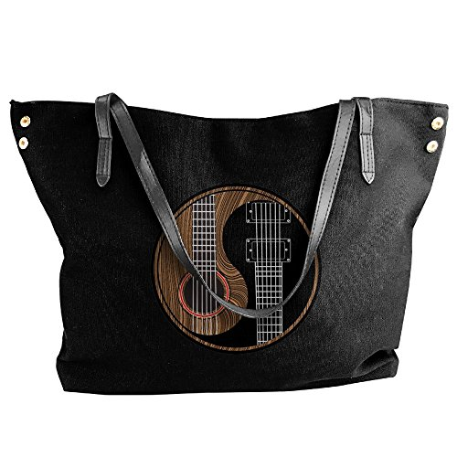 Women's Black Yang Large Handbag Canvas Tote Rock Shoulder Yin Guitar Handbags FPrwFqnvY