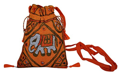 Ethnic Handmade Mirror Embroidery Work Design Ladies Fashion Cross Body Side Bag 20 x 15 Cm