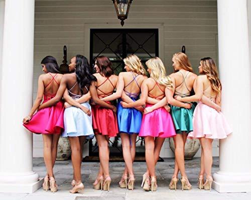 Neck 2018 Women's Satin Short Back Dress Pockets Scoop Cross Gown Prom Royal Homecoming Blue qZAwZEB1n6