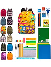 "17"" Bulk Backpacks with 44 Piece School Supply Kits - Case of 12 Wholesale Backpacks and Kits in 8 to 12 Prints and Colors"
