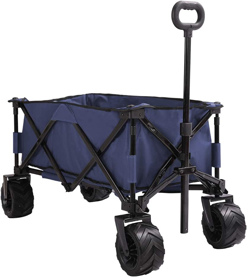 Patio Watcher Collapsible Wagon Folding Utility Wagon Cart Beach Outdoor Garden Camping Sports All Terrain Wagons Heavy Duty, Blue