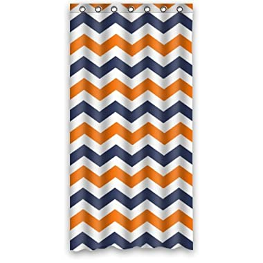 Navy Deep Blue Orange Chevron- Personalize Custom Bathroom Shower Curtain Waterproof Polyester Fabric 36(w)x72(h) Rings Included