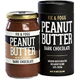 Fix & Fogg Dark Chocolate Peanut Butter (13.2 oz) All Natural, Handmade, 62% Dark Chocolate, Golden Roasted With Glass Jar & Beautifully Designed Cardboard Gift Canister
