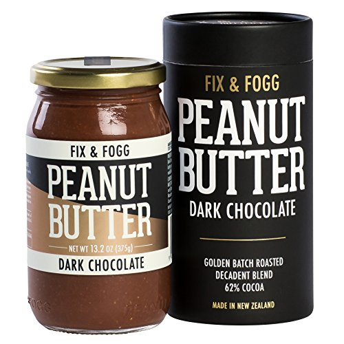 Fix & Fogg Dark Chocolate Peanut Butter (13.2 oz) All Natural, Handmade, 62% Dark Chocolate, Golden Roasted With Glass Jar And Beautifully Designed Cardboard Canister.