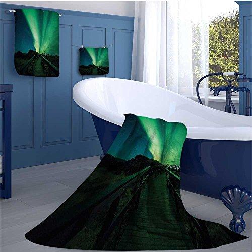 alisoso Aurora Borealis Highly Absorbent Hotel Quality Towels Set Wooden Bridge Solar Sky Scenic Radiant Rays Arctic Magic Scenery Cotton hand towels set Fern Green Dark Blue by alisoso