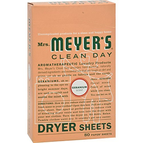 Mrs Meyers Clean Day Dryer Sheets, Geranium 80 ea ( Pack of 24) by Mrs. Meyers