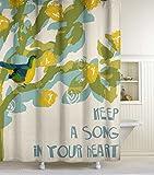 Lisa Weedn Song Bird Fabric Shower Curtain, Blue, 70-Inch X 72-Inch