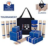 Kubb Tournament Size Yard Game Set for Adults, Families - Fun, Interactive Outdoor Family Games - Durable Pinewood Blocks with Travel Bag - Clean, Games for Outside, Lawn, Bars, Backyards