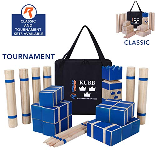 Kubb Tournament Size Yard Game Set for Adults, Families - Fun, Interactive Outdoor Family Games - Durable Pinewood Blocks with Travel Bag - Clean, Games for Outside, Lawn, Bars, Backyards -