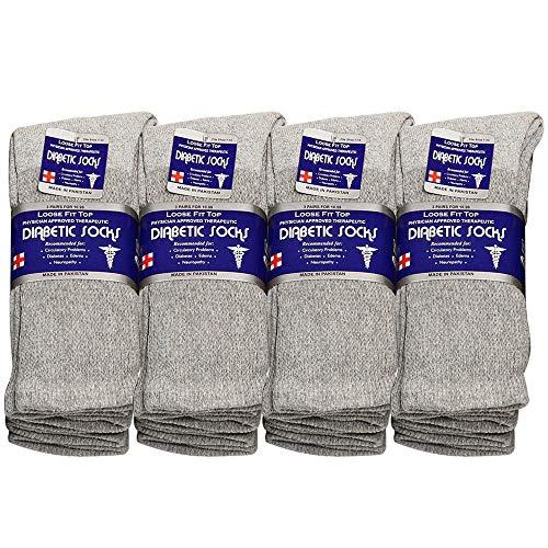 Mens Diabetic Loose Top - Diabetic Socks Men Unisex Size 13-15 Grey 63-9030-12PAIRS