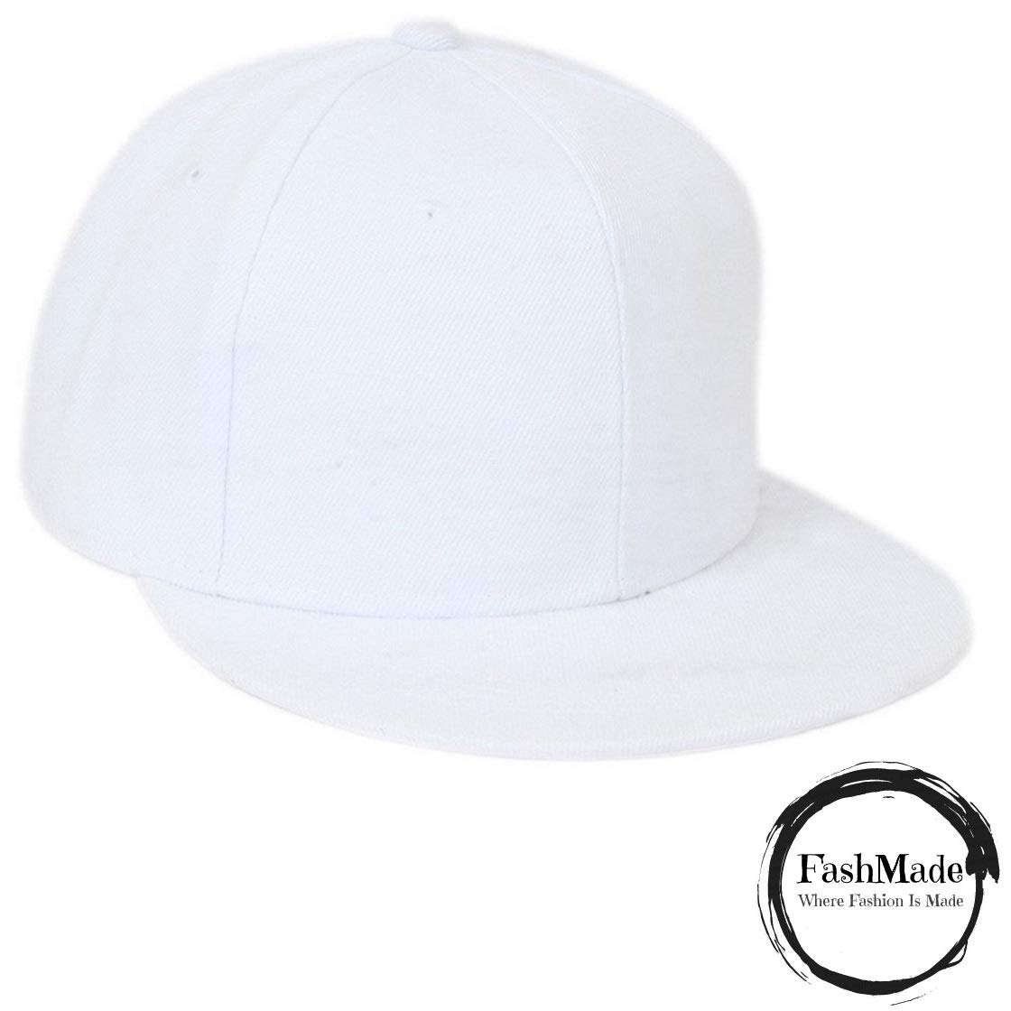 76f31a3d6ef FashMade Solid White Hiphop Snapback Cap for Men Boys   Women Girls   Amazon.in  Clothing   Accessories