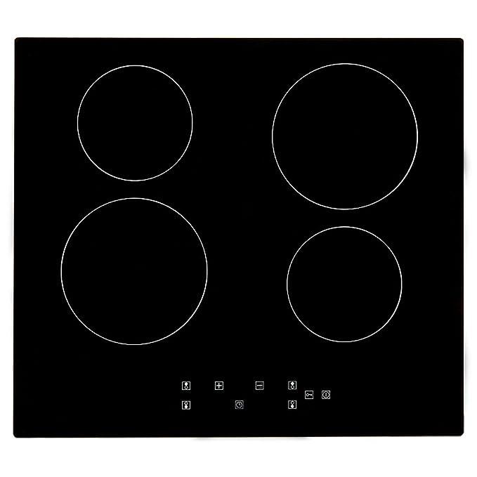 5 Years Warrant  60cm Touch Control 4 Zone Electric Ceramic Hob Black 6000W UK