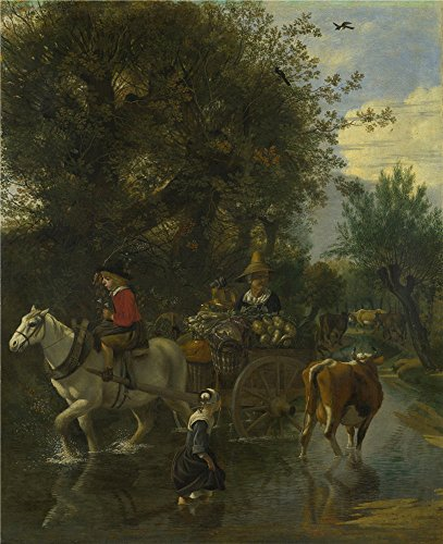 - Polyster Canvas ,the Vivid Art Decorative Canvas Prints Of Oil Painting 'Jan Siberechts A Cowherd Passing A Horse And Cart In A Stream ', 24 X 29 Inch / 61 X 75 Cm Is Best For Home Office Artwork And Home Artwork And Gifts