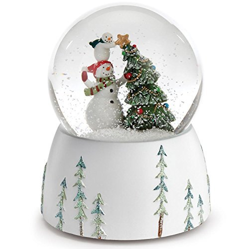 "Roman 5.75"" Snowmen Topping The Christmas Tree with a Star Musical Snow Globe"