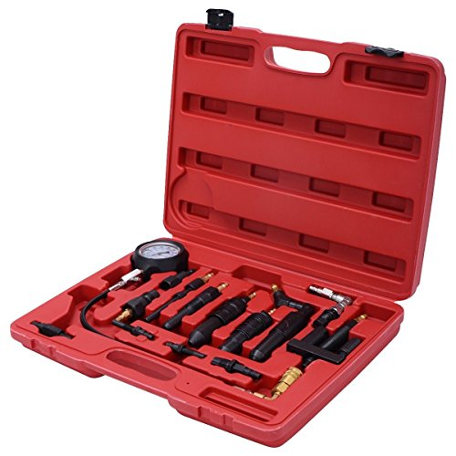 Goplus 16 pc Diesel Engine Compression Gauge Tester Cylinder Pressure Test Set Kit For Auto Tractor Semi With Case