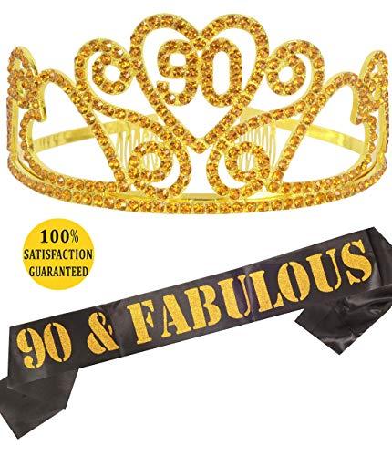 90th Birthday Tiara and Sash Gold, Happy 90th Birthday Party Supplies, 90 and Fabulous Gold Black Glitter Satin Sash and Crystal Tiara Birthday Crown for 90th Birthday Party Supplies and Decorations