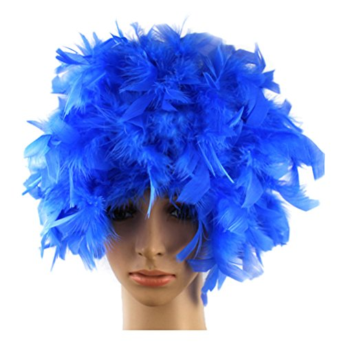 Nuoqi Mens Unisex Feather Wigs Halloween Costumes Party Hairs Wigs (Blue)