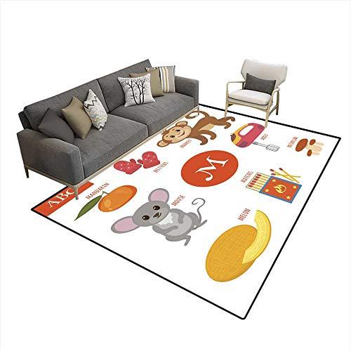Kids Carpet Playmat Rug Letter M Cartoon Alphabet for Children 6'x8' (W180cm x L240cm