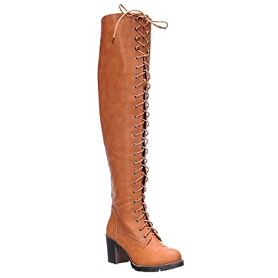 c7e1b8199152 Amazon.com | SHOEDEZIGNS Illusion 01 OK Womens Thigh High Lace UP Chunk Heel  Combat Boots | Boots