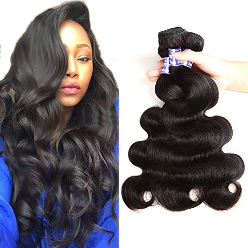 Semmely 8A Brazilian Virgin Hair Body Wave 3 Bundles 12 14 16 inch 100% Unprocessed Brazilian Body Wave Human Hair Weave Remy Hair Extensions Natural Black Color 300g
