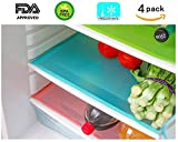 4 Pack Refrigerator Mats, HityTech EVA Refrigerator Liners Washable Can Be Cut Refrigerator Pads Fridge Mats Drawer Table Placemats / Size 17.7' x 11.8' - Random Colors